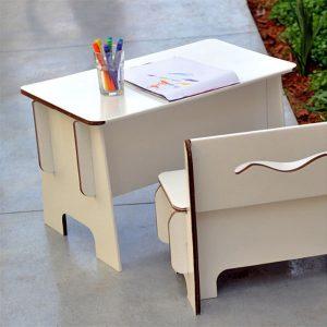 картонена маса и картонена пейка за дете, детски картонени мебели Green Lullaby