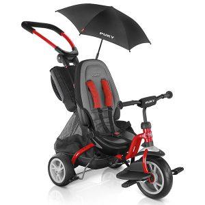триколка PUKY CAT S6 Ceety червена, триколка с колани и висока облегалка, триколка за дете на 1,5 години