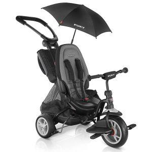 триколка PUKY CAT S6 Ceety черна, триколка с колани и висока облегалка, триколка за дете на 1,5 години