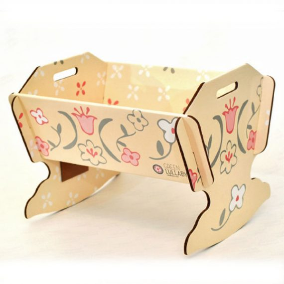 картонена люлка за кукла, детски картонени мебели и играчки Green Lullaby