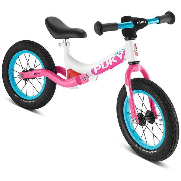 велосипед за баланс puky lr ride бяло и розово колело без педали за 3 годишно дете