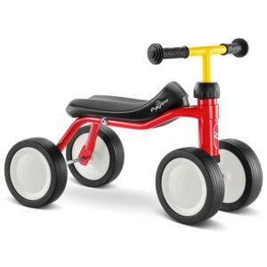 велосипед с 4 колела PUKYlino - червен детско бебешко колело с четири колела за дете на 1 година