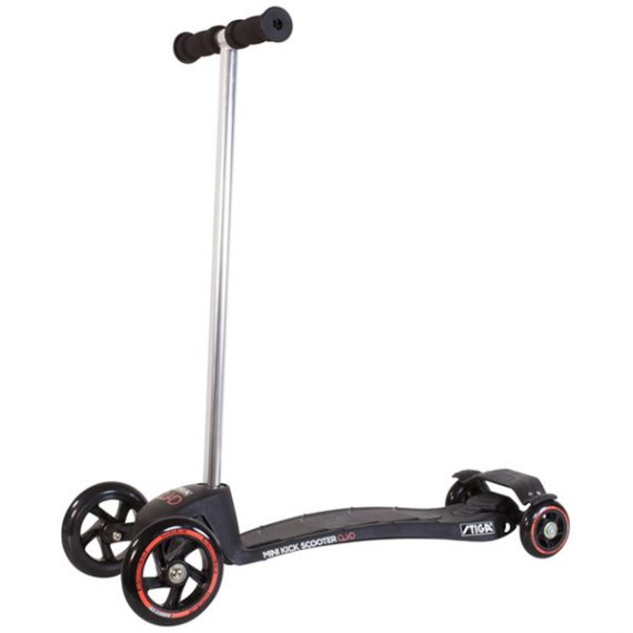 тротинетка stiga mini kick quad черна с 4 колела за малки деца на 2 години и деца на 3 години