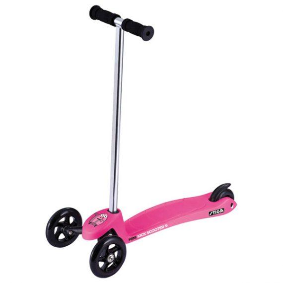 тротинетка stiga mini kick розова с 3 колела за малки деца на 2 години и деца на 3 години