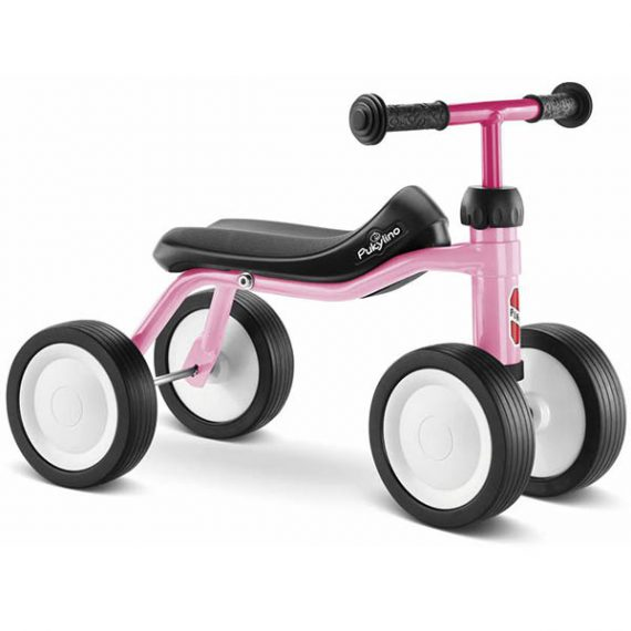 велосипед с 4 колела pukylino - розов детско бебешко колело с четири колела за дете на 1 година