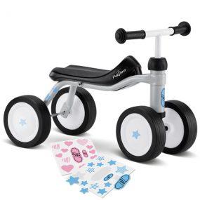 велосипед с 4 колела PUKYlino - светло сив детско бебешко колело с четири колела за дете на 1 година